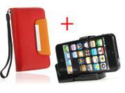 Litchi Pattern Magnetic Folio Wallet PU Leather Case For iPhone 4 4S + Universal Bracket Adapter Mount for Tripod iPhone 4 4s 5