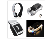 Wireless Stereo Bluetooth Headphone for Phone Laptop PC + USB Charging Cable + 3D Wireless Optical 2.4G Car Shaped 