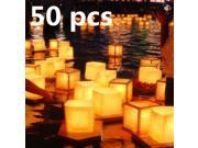 50 pcs Chinese Square Paper Wishing Floating Water River Candle Lanterns Lamp Light NEW christmas decoration party gift