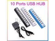 10-Port USB 2.0 Hub Splitter High Speed Power AC Adapter Desktop Laptop PC Win7 Mac /480Mbps Deep blue