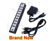 NEW 10-Port USB 2.0 Hub Splitter High Speed Power AC Adapter Desktop Laptop PC Win7 Mac /480Mbps
