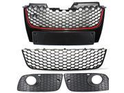 SHIP BY EMS   Front Bumper Grills Upper Grille For VW 2006 2007 2008 2009 GTI/GT JETTA Golf MK5 Red Black