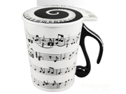 Piano Key Note Stave White Ceramic Coffee Mug with Cover