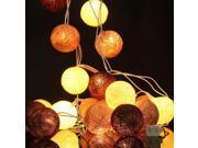 3M 20 Cotton Ball String Light Wedding Christmas Xmas Tree Fairy Party Patio Decoration Lamp Bulb US plug White+LightCoffee+Coffee