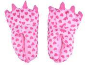 Women's Plush Slippers with Cute Heart Pattern, Indoor Shoes, Pink