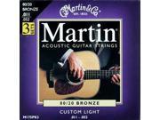 Martin M175 80/20 Acoustic Guitar Strings, Custom Light 3 Pack M175PK3