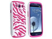 Double Dual Layer Soft + Hard Hybrid Zebra Stripes Cover For Samsung Galaxy S3 i9300- Pink/White