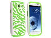 Double Dual Layer Soft + Hard Hybrid Zebra Stripes Cover For Samsung Galaxy S3 i9300- Green/White