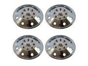 """4 Piece Set 16.5"""" 8 Lug RV Dual Chrome Simulators Steel Wheel Skin Hub Cap Rim Covers"""