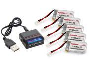 Combo: Tenergy T439 5-in-1 charger for 3.7V Lithium RC battery + 5pc 3.7V 380mAh batteries for Hubsan X4