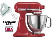 Kitchenaid Stand Mixer tilt 5-Quart ksm150pser Artisan Red + Free Hand Mixer NEW