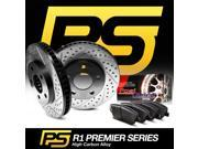 [REAR KIT]PREMIER-SERIES HIGH CARBON:DRILLED SLOT Brake Rotors+CERAMIC PAD R1009
