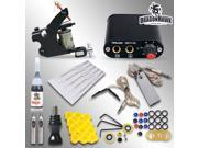 Complete Tattoo Kit Machine Guns Color Inks Needles Power Supply MGT-18GD