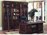 Double Pedestal Executive Desk, Bookcase & Ladder Set
