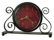 Marisa Tabletop Clock w Metal Scrolling and Antiqued Red Dial