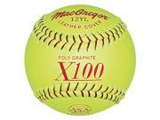 Softballs - ASA-Certified MacGregor Yellow Leather 12-Inch, 1 Dozen