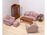 9 Pc Dollhouse Living Room Furniture Set with Wood Accent Pieces