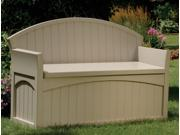 Outdoor Storage Bench w Crested Back & Arms