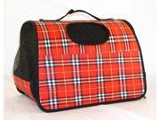 Soft-Side Valise Style Pet Carrier in Red Plaid