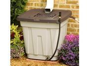 50 Gallon Taupe Resin Rain Barrel w Drain Hose & Debris Filter