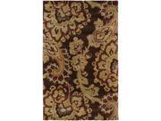 Sea SEA151 Wool Rug in Dark Brown with Paisley & Floral Design (2 ft. x 3 ft.)