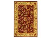 Red Wool Floral Rug with Border (1 ft. 8 in. x 2 ft. 6 in.)