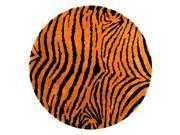 6 Ft Round Animal Print Rug in Black & Brown
