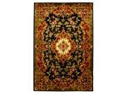 Wool Rug in Black with Red & Green Border (2 ft. x 3 ft.)