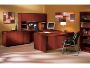 Aberdeen Series 9 Pc Bow Front Desk Set in Cherry Finish (Retractable Keyboard Platform)