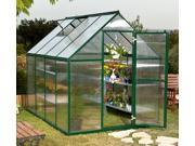 Twin-Wall Nature Greenhouse w Green Frame