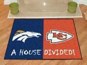 Denver Broncos - Kansas City Chiefs House Divided Rug