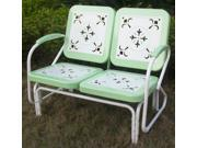 2 Seat Metal Retro Glider Chair in Green