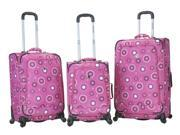 Fusion 3 Pc Spinner Luggage Set in Pink Pearl Design
