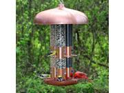 Copper Triple Tube Bird Feeder w 12 Flip Ports & 3 Seed Tubes