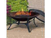 Round Cast Iron Fire Pit Bowl w Square Supports in Copper Finish