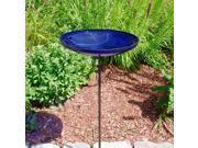 Cobalt Blue Crackle Birdbath Bowl with Stand