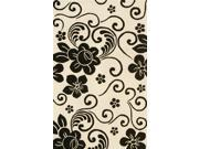 Floral Area Rug In White-Black - 11 ft. x 8 ft.