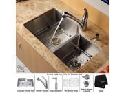 32 in. 60/40 Double Bowl Kitchen Sink w Faucet & Soap Dispenser
