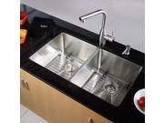 33 in. Undermount 50/50 Double Bowl Stainless Steel Kitchen Sink