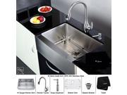 30 in. Farmhouse Single Sink & Pull out Faucet w Soap Dispenser