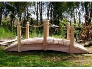 8 ft. Handmade Garden Bridge (8 ft. Rope Rails Bridge w Lights)