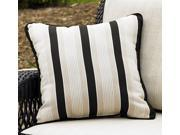 Ebony & Ivory Striped Pillow in Sunproof Fabric w Piping