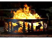 Campfire Fire Ring w Moose Cutout Design - Solid Steel (38 in. Dia.)