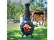 Outdoor Chimenea Fireplace - Dragonfly in Charcoal Finish