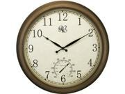 Antique Brass Finish 24 in. Round Wall Clock w Thermometer