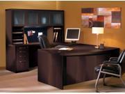 Aberdeen Series 6 Pc Desk Set w Hutch in Mocha Finish (Hutch Tack Panel)