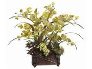 "31"" Green Burgundy Phalaenopsis & Hydrangea in Resin Container"