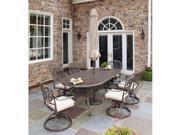 Floral Blossom Taupe 7PC Dining Set with Umbrella