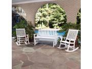 Bali Hai Outdoor Glider Bench and Two Rocking Chairs Washed White Finish
