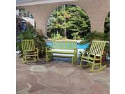 Bali Hai Outdoor Glider Bench and Two Rocking Chairs Limeade Finish